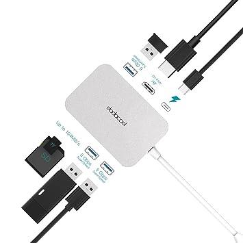 dodocool HUB USB C, Type C con PD Puerto, 3 x USB 3.0 Puertos, Salida de Video HD 4K, Lector de Tarjetas SD/TF, Adaptador Multipuerto para ...