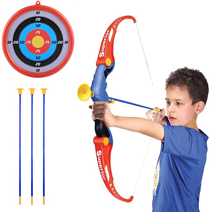 Leic Juego de Arco y Flecha emuladores para ni/ños Juego de Disparos de simulaci/ón al Aire Libre Juego de Juguetes para ni/ños ni/ñas