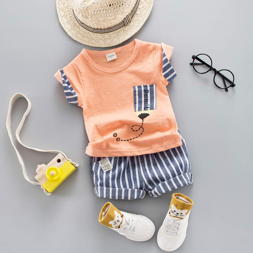 Baby Boys Summer Clothing Sets | Light Color T Shirt for Toddler Boys Striped Shorts Set(Orange,100) by Wesracia (Image #2)