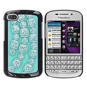Caucho caso de Shell duro de la cubierta de accesorios de protección BY RAYDREAMMM - BlackBerry Q10 - Gemstones Gems Green Bling