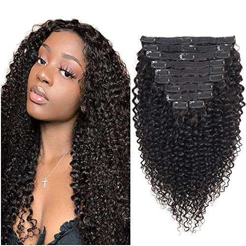Kinky Curly Clip Ins Hair Extensions 16Inch Brazilian Curly Human Hair Extension 21 Clips 10 Pieces 3C 4A Afro Kinkys Curly Clip In 120Gram African American Curly Weave Clip Ins Double Weft