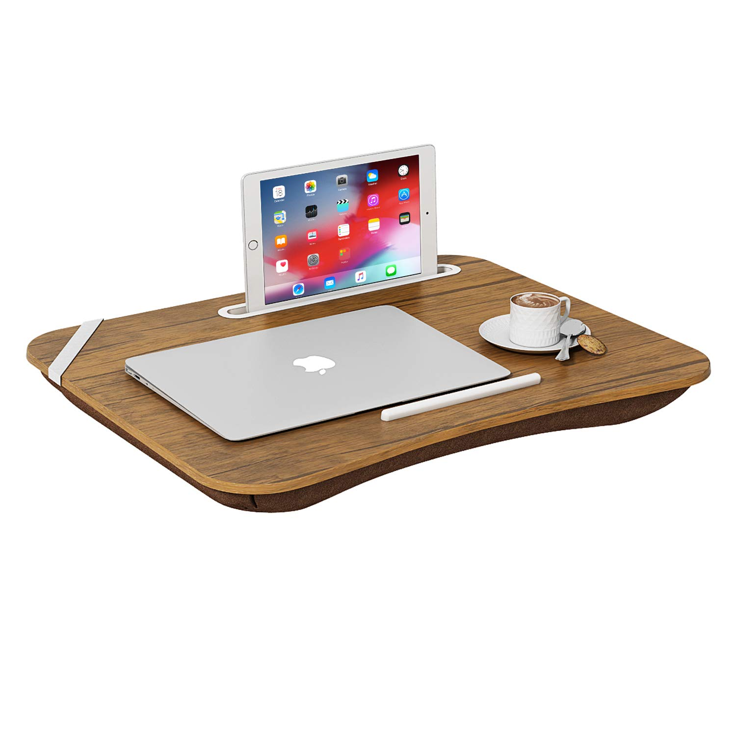 HOME BI Portable Lap Desk Laptop Table Tray Bed Table with Handle, Phone Holder, Built-in Laptop Stop Bar, Pillow Foam Cushion,18.5L x 14.96W x 2.17H Inch, Brown