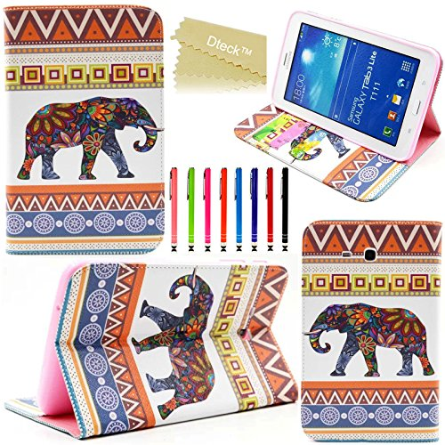 Galaxy Tab 3 Lite 7.0 Case, Dteck(TM) Stylish Portable Protective Premium Folio PU Leather Stand Cover for Samsung Galaxy Tab 3 Lite 7.0 Inch SM-T110/T111/T116 Tablet (02 Baby Elephant)