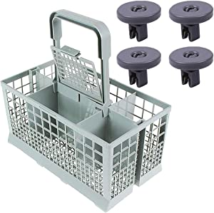 ANBOO Dishwasher Silverware Basket for Kenmore, Whirlpool, Bosch, Maytag, KitchenAid Samsung,GE Dishwasher Utensil Cutlery Basket Wheels