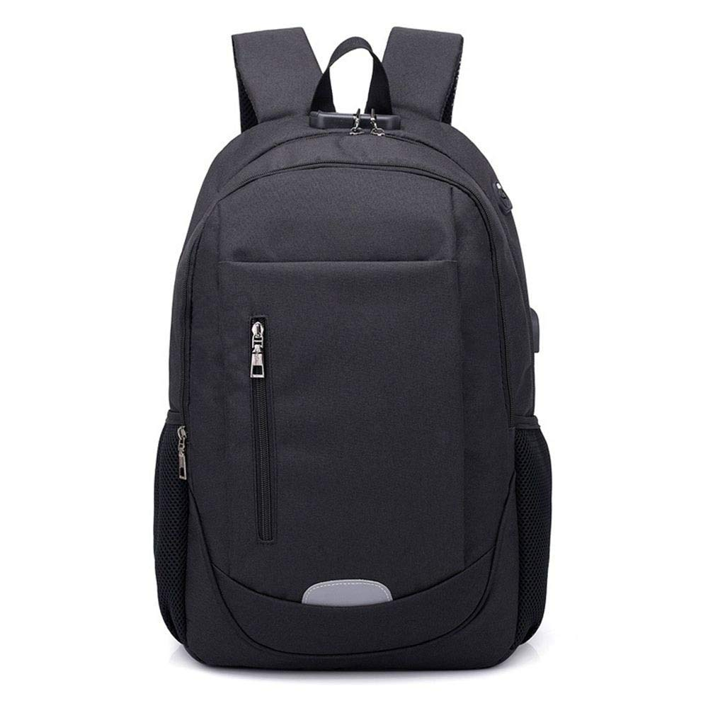 DYR Outdoor Travel Bag Casual Backpack Male and Female USB Charging Computer Bag Shoulder Bag Shoulder Bag Chest Bag Student Bag, Black, 15.6 Inch
