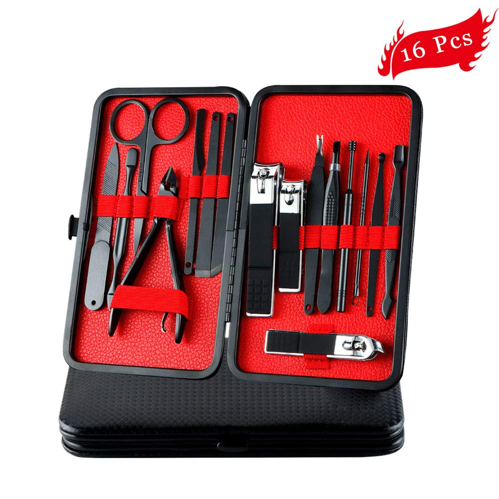 Professional Manicure Pedicure Set Nail Clippers for Men, 16 Pcs Stainless Steel Mens Grooming Kit Nail Scissors Tools Fingernail Toenail Clippers with Black PU Leather Travel Case(Black& Red) LvBooks