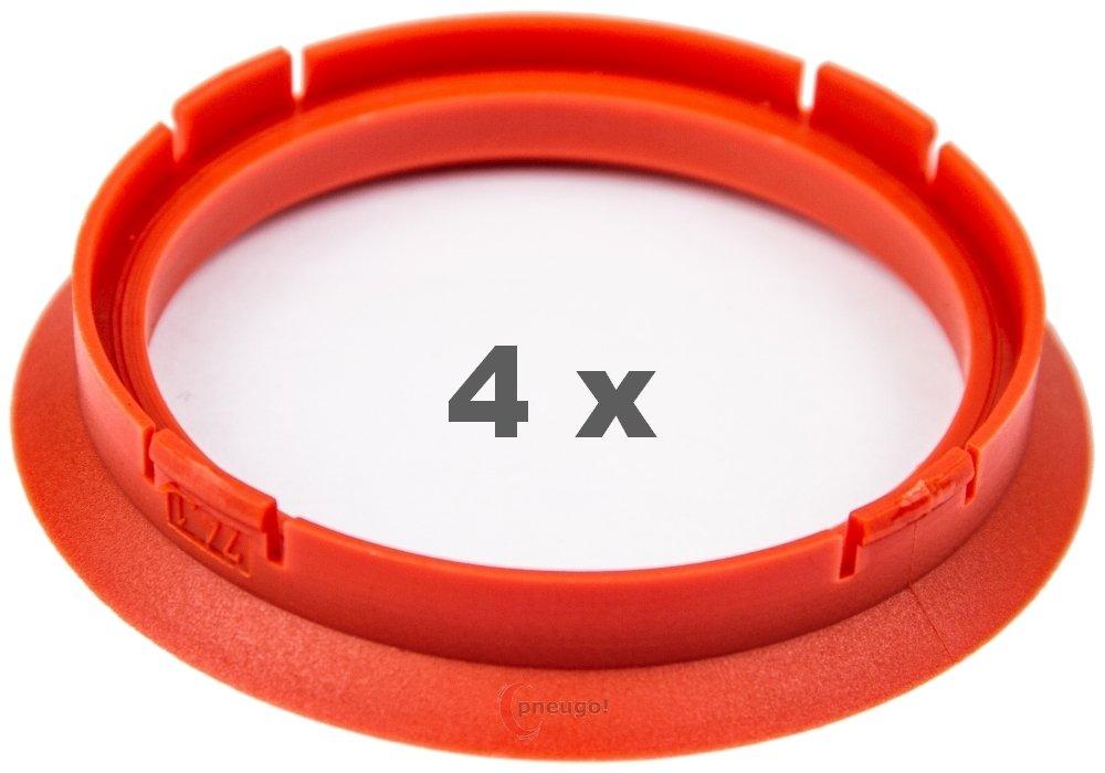4 anneaux de centrage 74.1 mm /à 63.4 mm rouge//rouge