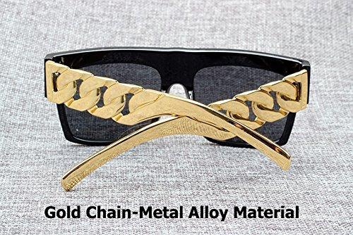 inspirado vintage 2 la Beyonce Fashion Kardashian Kim cadena de estilo en famosa Gafas dorado sol de 3 metal famosa con Aprigy XPRfwqw