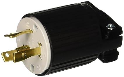 EATON L630P Twist Lock Electrical Plug, 250 V, 30 A, 2 P, 3 W Black on