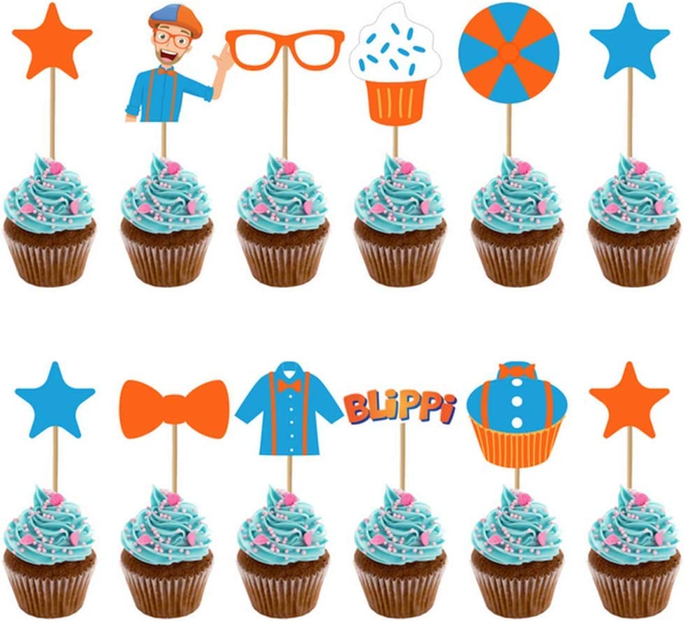 Fabulous 12Pcs Set Blippi Cake Toppers Picks Cupcake Decor Kids Birthday Birthday Cards Printable Giouspongecafe Filternl