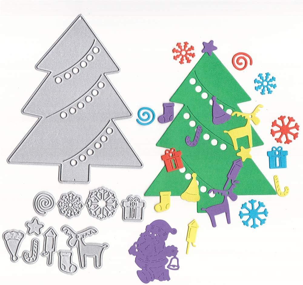 Lhbfcy Diy árbol De Corte Muere DIY Muere Navidad Troqueles Nieve Fabricación Navidad Troqueles Típicas Muy Para Adornos De álbum De Recorte,Tarjetas Scrapbooking,Manualidades Papel,Diseño De Tarjeta