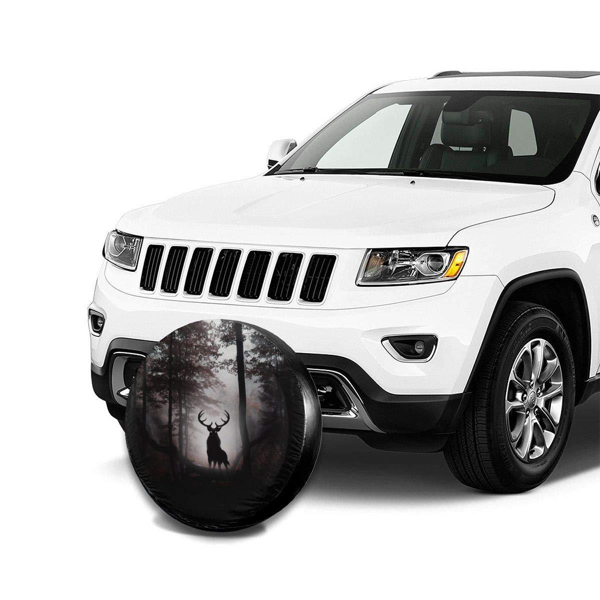 AngShen Deer Fantasy Artwork Spare Tire Wheel Cover Fits Wrangler Jeep Trailer RV SUV Truck Camper Travel Trailer 14,15,16,17 Inch