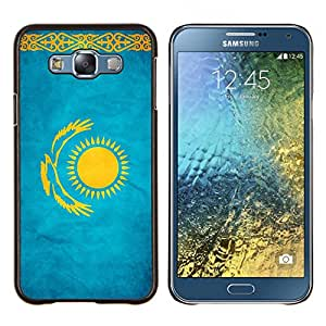 YiPhone /// Prima de resorte delgada de la cubierta del caso de Shell Armor - Nacional bandera de la nación País Kazajstán - Samsung Galaxy E7 E700