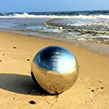 Whole House Worlds The Crosby Street Stainless Steel Gazing Ball for Garden and Home, 13 ¾ inches in Diameter by