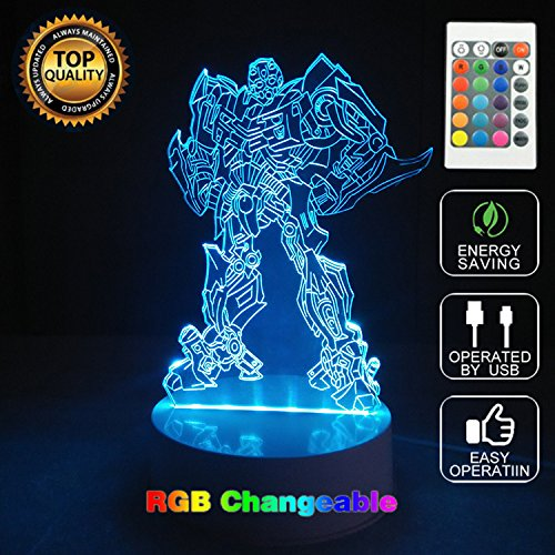 3D Optical Illusion Transformers Panel Model Lighting Night 7 Color Change USB Touch button LED Desk Table Light Lamp