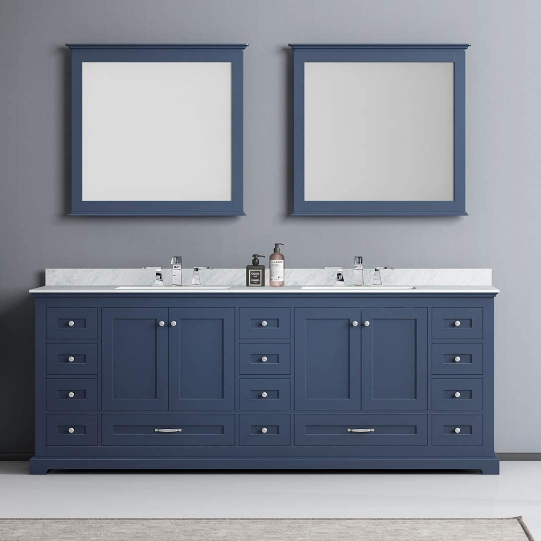 84 in Double Vanity Set with Mirrors in Navy Blue