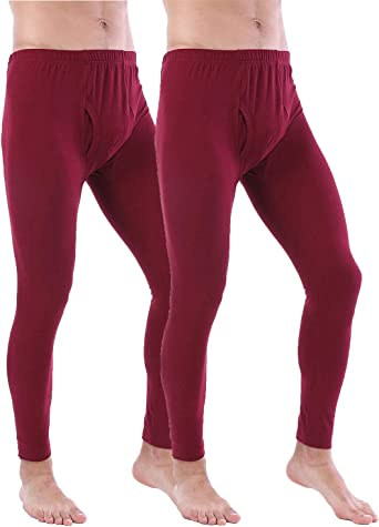 Mens Mid Rise Stretch Warm Long Johns Pants Thermal Slim Fit Underwear Leggings