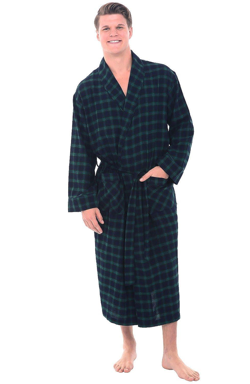 Alexander Del Rossa Mens Flannel Robe, Soft Cotton Bathrobe A0707