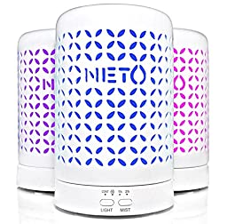 Neto Ceramic Electric Ultrasonic Aroma Diffuser for Essential Oils with 7 Color LED Light, Timer Settings, 120 ml
