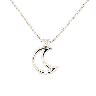 ae04322687b0 Anelie Gioielli - Collar de Oro Blanco de 18 kilates para Mujer 45cm -  Colgante Luna Diamante de Oro blanco