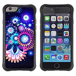 Hybrid Anti-Shock Defend Case for Apple iPhone 6 4.7 Inch / Colorful Abstract Neon Flowers