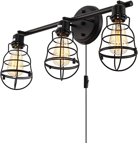 Stepeak Rustic Bathroom Vanity Lights Fixture 3 Wire Cages Industrial Wall Sconce With Plug In Cord And Farmhouse Setting Amazon Com