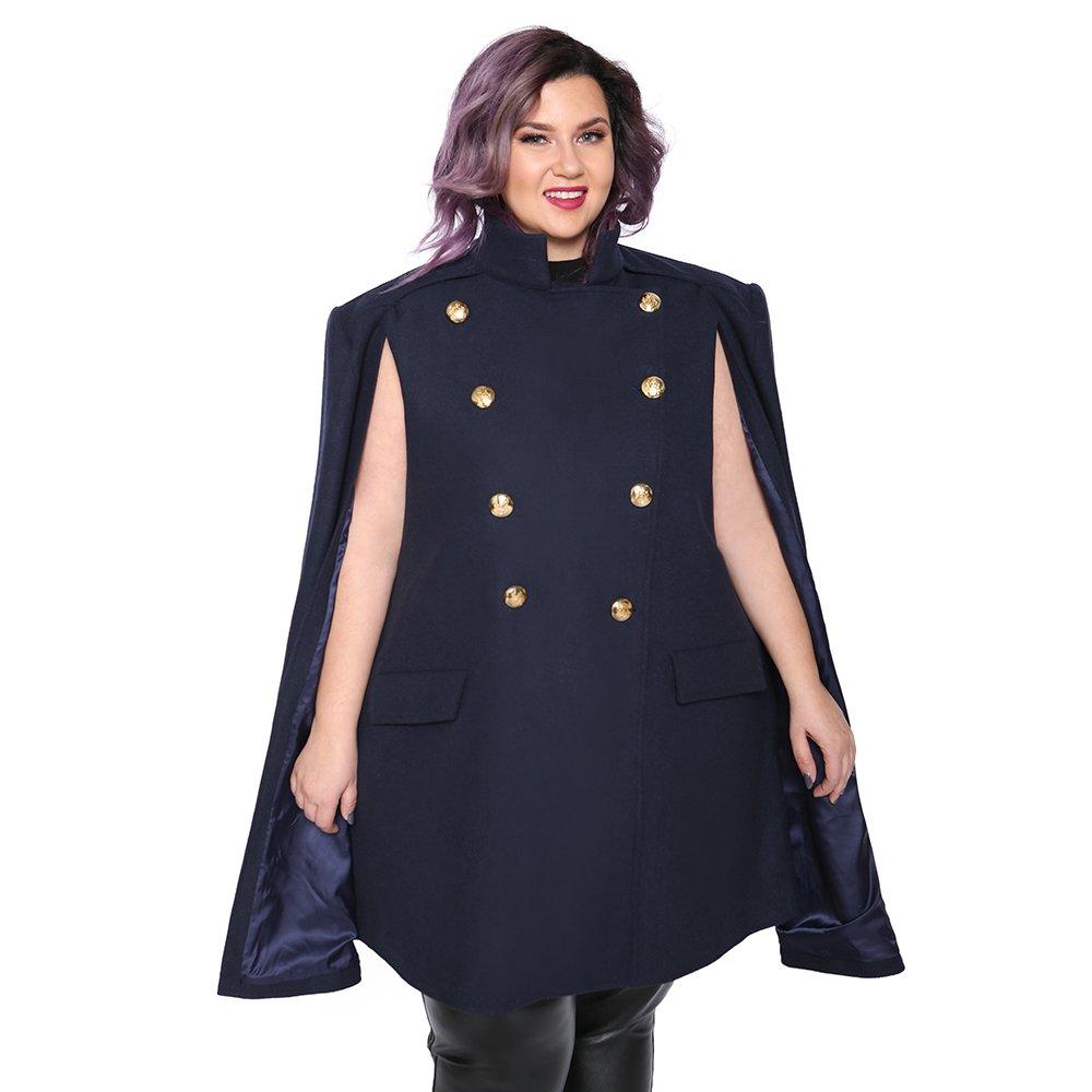 Astra Signature Women's Amelia Military Trench Coat Wool Blend Cape Cloak