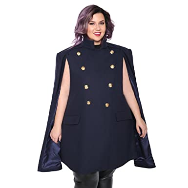 f127d028c9 Astra Signature Women's Double Breasted Amelia Military Cape Coat Plus Size  Wool Blend Cloak Outwear (