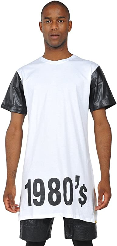 PIZOFF Camiseta Negra Hiphop Extralarga de Manga Corta con Numero 1980