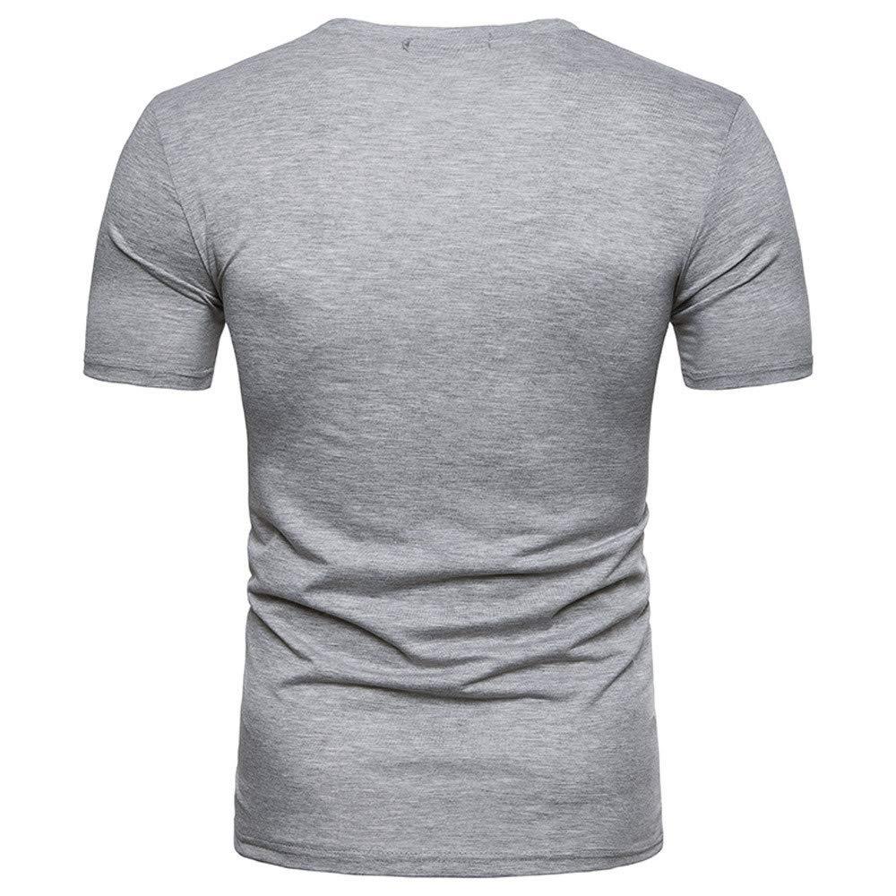 Casual Slim T Shirt Autumn Bsjmlxg Fashion Personality Mens Solid Short Sleeve Summer