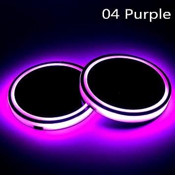 2 Pcs Universal Interior Atmosphere Lights RGB LED Car Cup Holder Pad Mat Auto