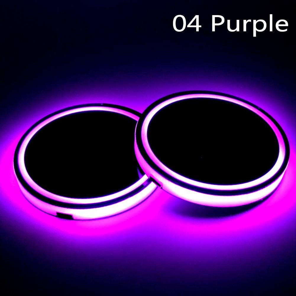 RUNMIND 2Pcs LED Car Cup Holder Mat Auto Interior Atmosphere RGB Colorful Light Purple