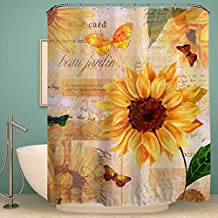 "Colorful Star Sunflowers Design Shower Curtain,Waterproof&Antibacterial&Eco-Friendly made of 100% Polyester Fabric,Non Toxic, Odor Free, Rust Proof Grommets 60""x72"""
