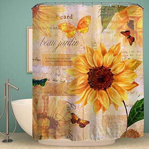 Colorful Star Sunflowers Design Shower Curtain,Waterproof&Antibacterial&Eco-Friendly made of 100% Polyester Fabric,Non Toxic, Odor Free, Rust Proof Grommets 72