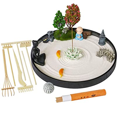 Desktop Meditation Zen Garden - Office Tabletop Mini Rock Sand Garden with Rake Tools Kit Set/Incense Holder/Meditating Yoga Statue/Sand Sphere Stamp/Sandbox Father Mather Colleague Birthday Gifts: Toys & Games
