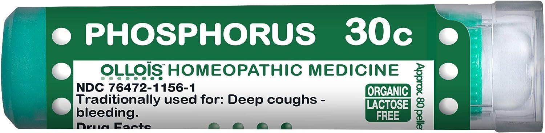 OLLOIS Organic Lactose-Free Phosphorus 30C Pellets Homeopathic Medicines, 80 CT for Deep Cough, Bleeding