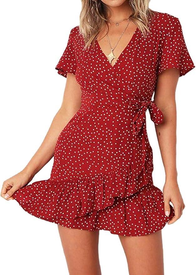 Naggoo Women's Summer Wrap V Neck Polka Dot Print Ruffle Short Sleeve Mini Floral Dress with Belt   Amazon
