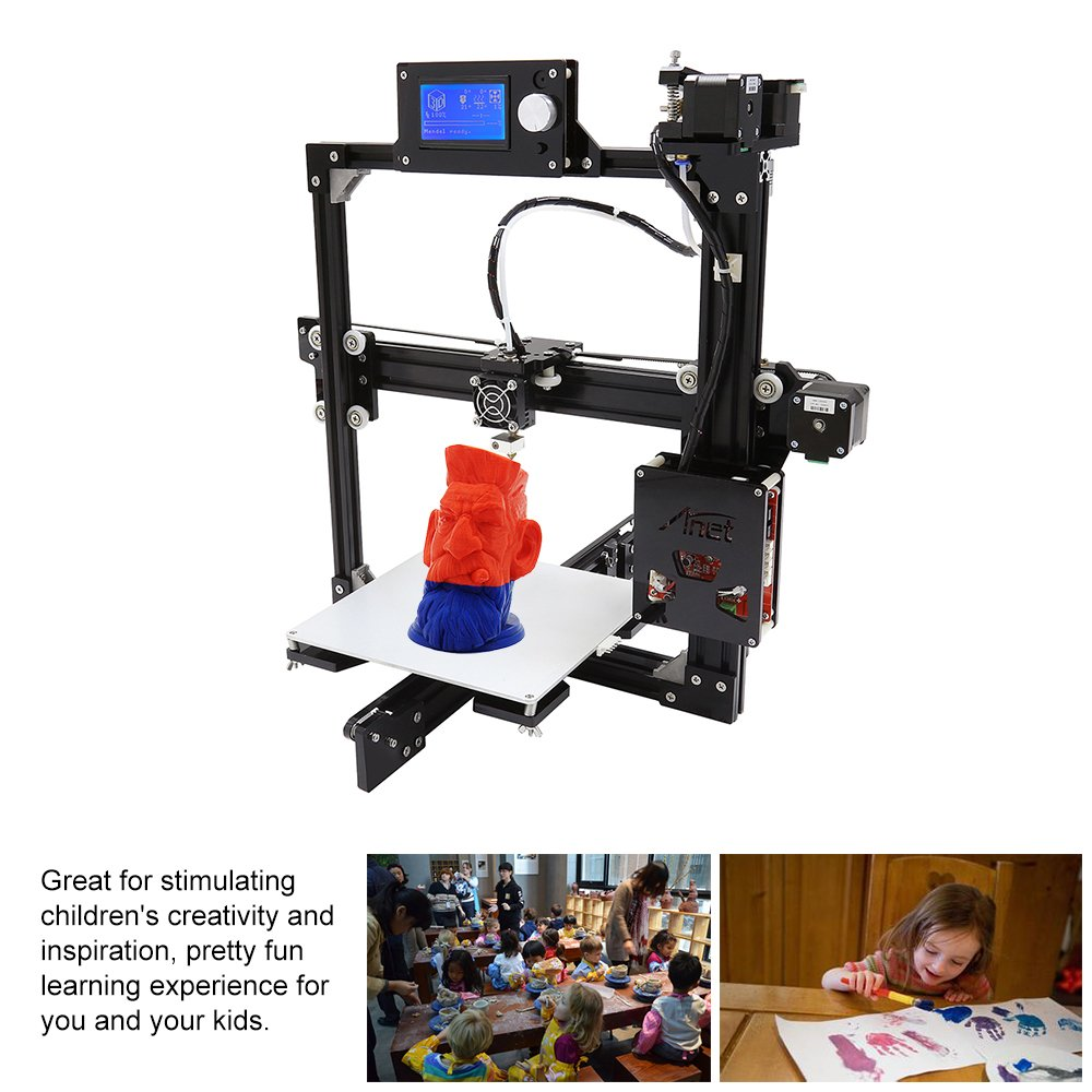 Anet A2 3D Printer Kits High Precision Desktop DIY Self Assembly LCD Screen Aluminum Alloy Frame Reprap i3 with 8GB SD Card Printing Size 220220220mm Support ABS//PLA//HIP//PP//Wood Filament