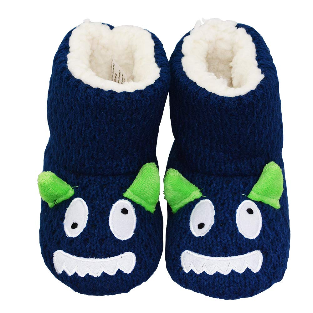 LA PLAGE Boys Indoor/Outdoor Comfortable Plush Knit Monster House Boot Slippers 6-7 US Navy