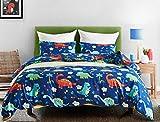 Xiongfeng Dinosaur Bedding Set Kids Dark Navy Blue Duvet Cover Queen Boys Animals Natural Comforter Cover 3 Pieces - 1 Duvet Cover with Zipper Closure 2 Pillow Shams 90x90(Queen,KLSJ Dinosaur)