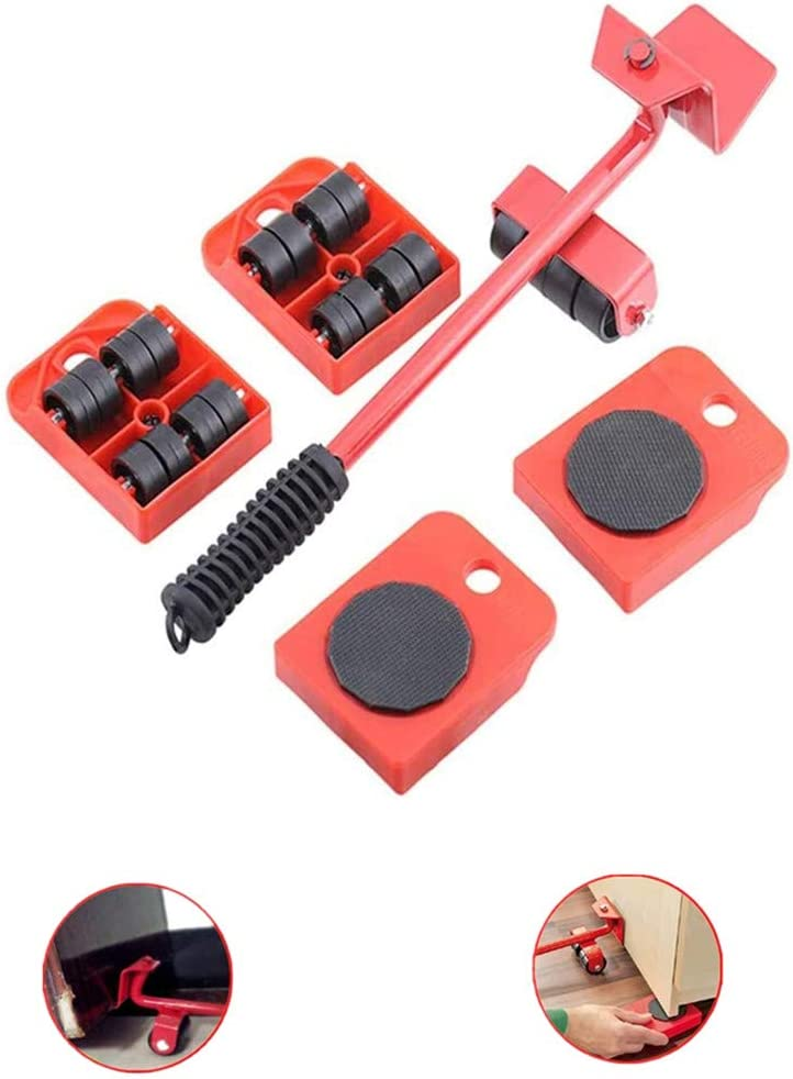 "Heavy Duty Furniture Lifter/Furniture Lifter and 4 pcs 3.9""x3.15"" Furniture Slides Kit, Heavy Furniture Move Roller Tools Max Up for 150KG/330LBS, 360 Degree Rotatable"