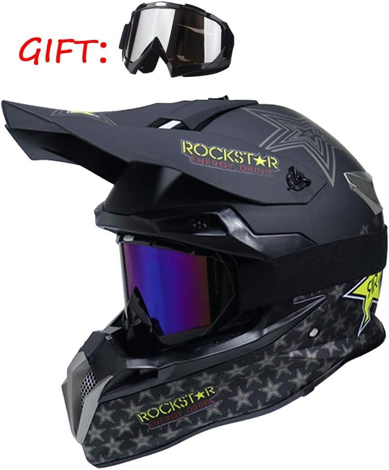 Nightghost Casco Integrale Rock Star Adulto Motocross off Road,M57~58CM Moto Enduro DOT Set 2 Pezzi Occhiali Moto Adulto