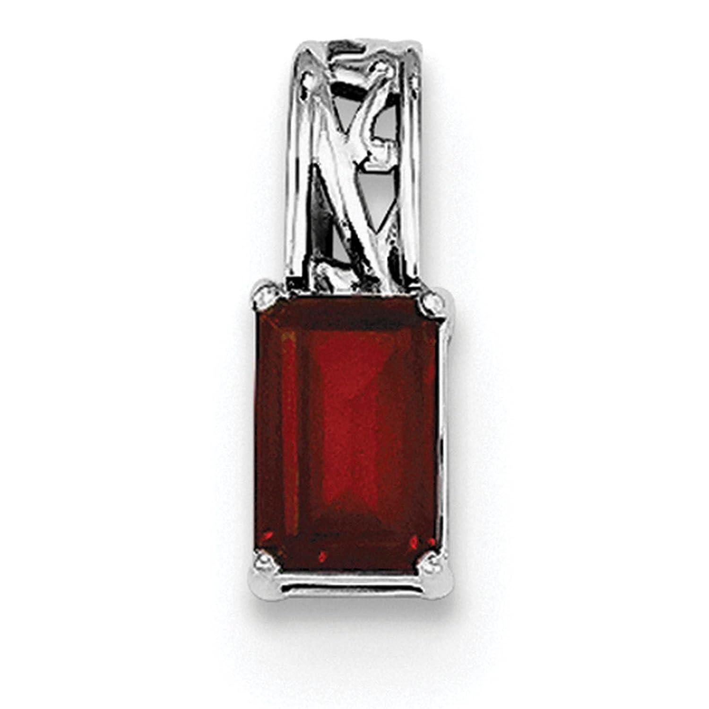 925 Sterling Silver Rhodium-plated Genuine Garnet Rectangle Pendant