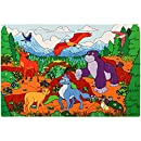 Enormous Mountains Jigsaw Foam Puzzle - 12x18 Inches Floor Mat - 54 Soft and Thick Pieces - Vibrant Image of Cute Wild Animals in Nature - Fun Birthday Gift for Kids Age 3-6 Years Old, by Premium Joy