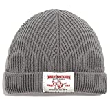 True Religion Men's Ribbed Patch Cuff Beanie in Grey