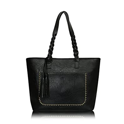 Amazon.com: Chiffoned Women PU Leather Handbags Female Vintage Bag Shoulder Bag Retro Large Tote Bags Black: Shoes