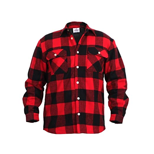 Amazon.com  Rothco Fleece Lined Flannel Shirt Red  Sports   Outdoors cd588c38517