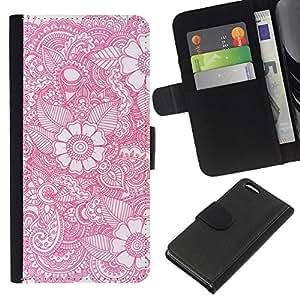 KLONGSHOP // Tirón de la caja Cartera de cuero con ranuras para tarjetas - Flores blancas Art Pen Femenino - Apple Iphone 5C //