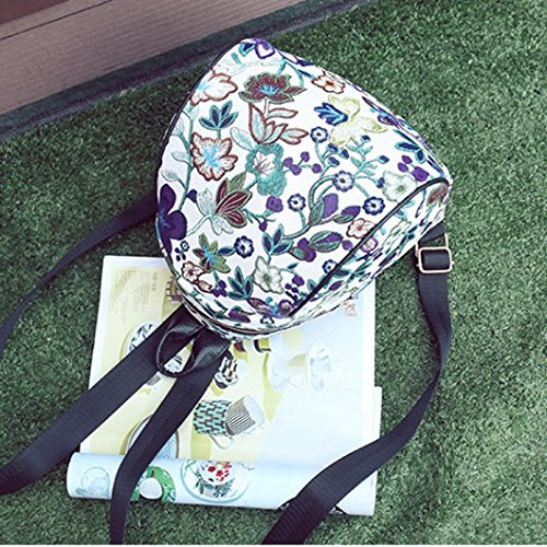 Travel Embroidery Allywit Canvas Ethnic Bags Purple Backpack Vintage Women Flower Schoolbag 04w7x0