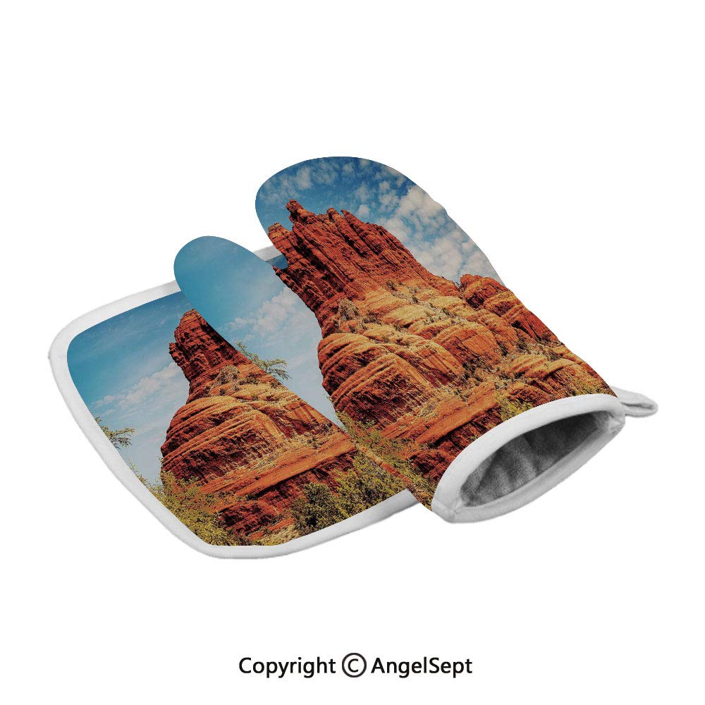 Famous Bell Rock and Courthouse Butte in Sedona Arizona USA Nature Desert Decorative,Fashion Insulated Gloves+Insulated Square Mat,Cinnamon Blue Green,Heat Resistant Kitchen,BBQ,Cooking,Baking